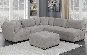 Furny Delsar Six Seater Modular Fabric Sofa (Light Grey)