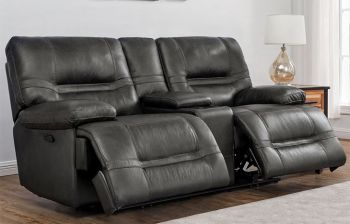 Furny Usbary Two Seater Recliner Sofa with Storage (Black)