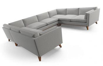 Furny Russel Eight Seater U-Shaped Sofa (Light Grey)