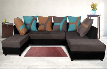 Furny Multi L-Shape 5 Seater Sofa (3 Seater + 2 Seater + 2 Puffy) Combo (Grey & Black)