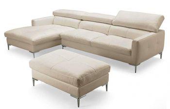 Furny Mosco Four Seater L shape LHS Leatherette Sofa (Cream)