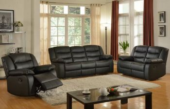 Furny Barlo 3+2+1 Recliner Sofa Set (Black)