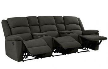 Furny Carson Three Seater Fabric Recliner Sofa with 2 Storage (Dark Grey)