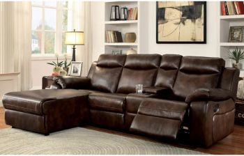 Furny Emeline Four Seater LHS L shape Recliner Sofa with Storage (Brown)