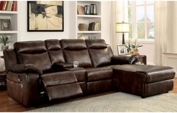 Furny Emeline Four Seater RHS L shape Recliner Sofa with Storage (Brown)