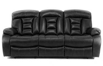 Furny Genos Three Seater Recliner Sofa (Black)