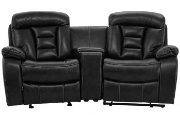 Furny Genos Two Seater with Storage Recliner Sofa (Black)