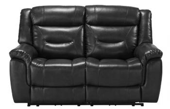 Furny Hillsby Two Seater Recliner Sofa (Black)