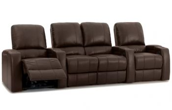 Furny Mulvey Four Seater Home Theatre Straight Row Seating Recliner (Brown)