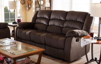 Furny Russalo Three Seater Fabric Recliner (Brown)