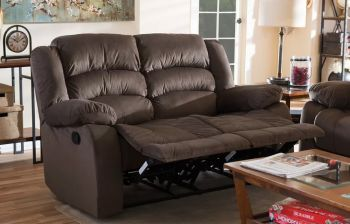 Furny Russalo Two Seater Fabric Recliner (Brown)