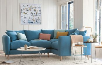 Furny Bumster Four Seater RHS Corner Modular Fluffy Sofa (Blue)