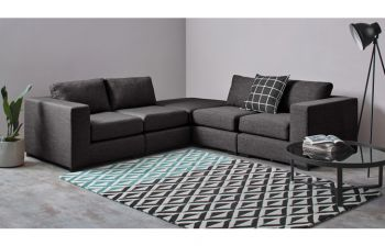 Furny Monteresso Five Seater Modular Sofa (Dark Grey)