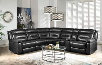Furny Hillsby Five Seater Corner Recliner Sofa (Black)