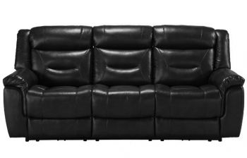 Furny Hillsby Three Seater Recliner Sofa (Black)