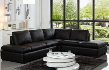 Furny Everson Five Seater RHS L shape Sofa (Black)