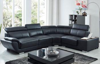 Furny Federick Four Seater Corner L shape Sofa (Black)