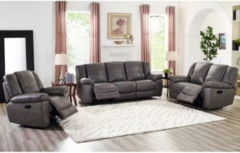Furny Nichol 3+2+1 Recliner Sofa Set (Grey)