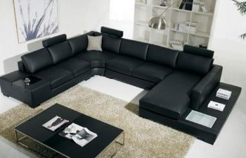 Furny Luciano Seven Seater U-shaped Sofa with Adjustable Headrest (Black)