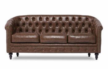 Furny Dallas Three Seater Chesterfield Sofa (Brown)