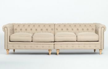 Furny Scoutt Four Seater Chesterfield Sofa (Cream)