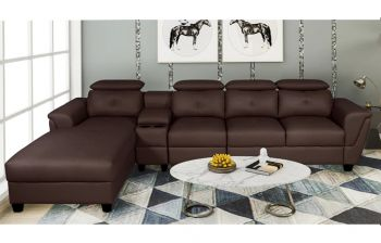 Furny Imperial Five Seater LHS L Shape Sofa With Adjustable Headrest (Brown)