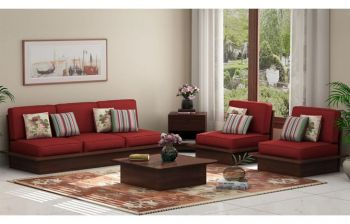 Furny Arley Teakwood Wooden Sofa 3+1+1 Set (Walnut Polish)