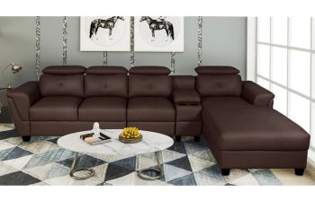 Furny Imperial Five Seater RHS L Shape Sofa With Adjustable Headrest (Brown)