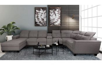 Furny Monarch U Shape Sofa Eight Seater Sofa With Adjustable Headrest - Cupholder & Storage (Grey)