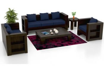 Furny Brownoy Six Seater 3+2+1 Teakwood Wooden Sofa Set (Walnut Polish)