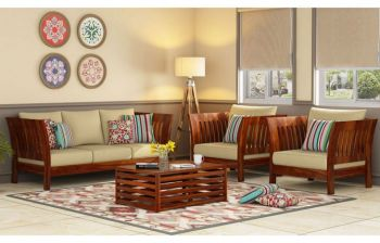 Furny Earthen Teakwood Wooden Sofa 3+1+1 Set (Teak Polish)