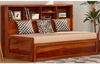 Furny Estonia Three Seater Teakwood Sofa Cum Bed (Teak Polish)