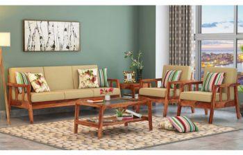 Furny Olivia Teakwood Wooden Sofa 3+1+1 Set (Teak Polish)