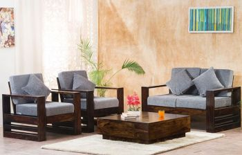 Furny Freddie Four Seater 2+1+1 Teakwood Wooden Sofa Set (Walnut Polish)