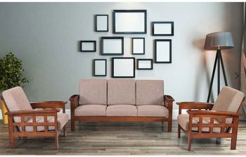 Furny Indiana Five Seater 3+1+1 Teakwood Wooden Sofa Set (Teak Polish)