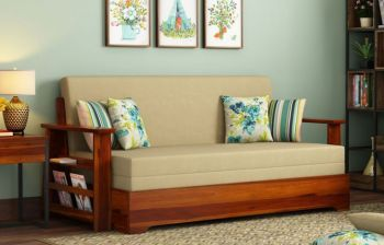 Furny Jamaica Three Seater Teakwood Sofa Cum Bed (Teak Polish)