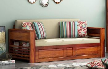 Furny Korea Three Seater Teakwood Sofa Cum Bed (Teak Polish)