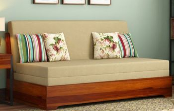 Furny Slovenia Three Seater Teakwood Sofa Cum Bed (Teak Polish)