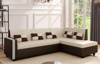 Furny Lexicon 6 Seater RHS L Shape Sofa Set (Cream - Brown) |3 Year Assurance