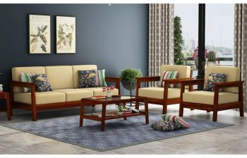 Furny Trish Teakwood Wooden Sofa 3+1+1 Set (Teak Polish)
