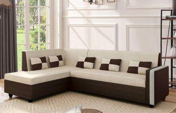 Furny Lexicon 6 Seater LHS L Shape Sofa Set (Cream - Brown) | 3 Year Assurance