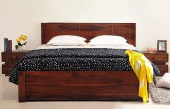Furny Bruges Teak Wood Bed with storage (Teak Polish)