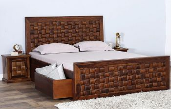 Furny Chexon Teak Wood Bed with Storage (Teak Polish)