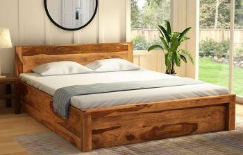 Furny Denver  Teak Wood Bed with Storage (Teak Polish)