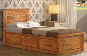 Furny Elite Single Teak Wood Bed (Teak Polish)