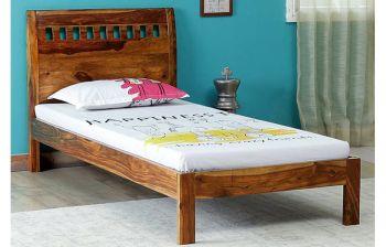 Furny Casper Single Teak Wood Bed (Teak Polish)