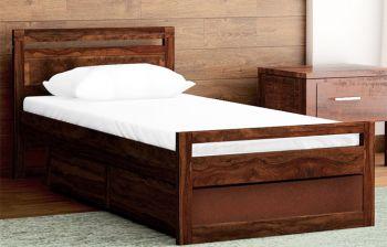 Furny Avion Single Teak Wood Bed (Teak Polish)