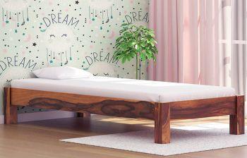 Furny Oscar Single Teak Wood Bed (Teak Polish)