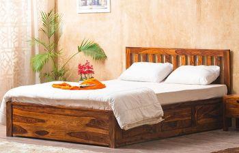 Furny Wallzone Teak Wood Bed with Storage (Teak Polish)