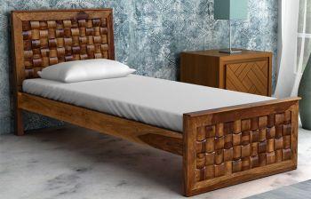 Furny Chexon Single Bed With Drawer Storage (Teak Polish)